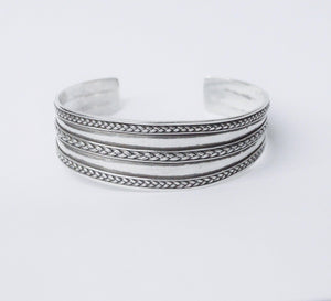 Sterling Silver Cuff Bracelet W/ Braided Silver Design www.hersandhistreasures.com/collections/sterling-silver-jewelry