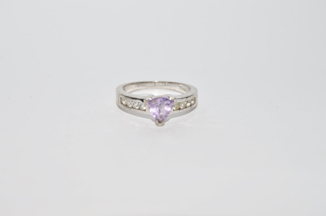 Sterling Silver .925 Triangle Cut Amethyst Ring www.hersandhistreasures.com/collections/sterling-silver-jewelry