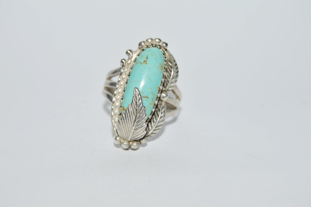 Native American Turquoise Feather Signed .925 Sterling Silver Ring www.hersandhistreasures.com/collections/sterling-silver-jewelry