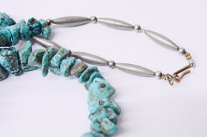 Native American Turquoise Nugget Sterling Silver Necklace