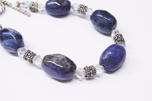 Blue Sodalite & Swarvoski Crystal Sterling Silver Bracelet www.hersandhistreasures.com/collections/sterling-silver-jewelry
