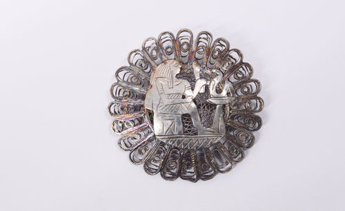 1939-1940 800 Silver Egypt Signed Filigree Brooch Pin www.hersandhistreasures.com/collections/sterling-silver-jewelry