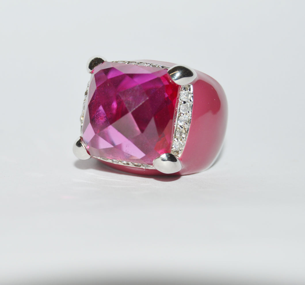 Charles Winston CWE Pink Sapphire And CZ Sterling Silver .925 Ring www.hersandhistreasures.com/collections/sterling-silver-jewelry