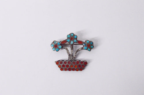 Red Coral And Turquoise Flower Pot Sterling Silver Brooch Pin www.hersandhistreasures.com/collections/sterling-silver-jewelry
