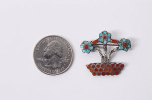 Red Coral And Turquoise Flower Pot Sterling Silver Brooch Pin