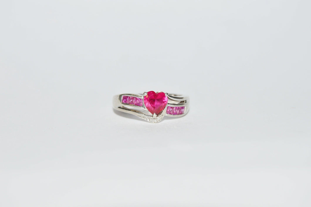 Sterling Silver .925 Heart Shaped Ruby And Diamond Ring www.hersandhistreasures.com/collections/sterling-silver-jewelry