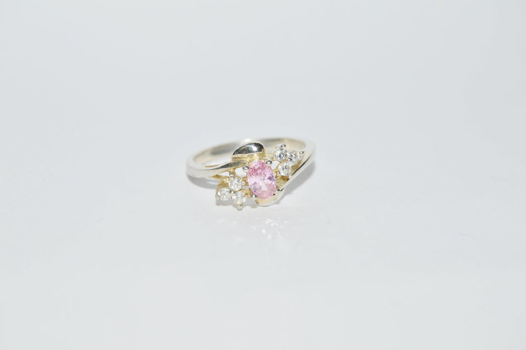 Sterling Silver .925 Pink CZ Cubic Zirconia Ring www.hersandhistreasures.com/collection/sterling-silver-jewelry