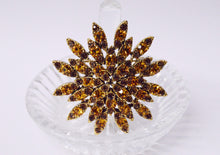 Load image into Gallery viewer, Orange And Brown Rhinestone Star Flower Brooch Pin