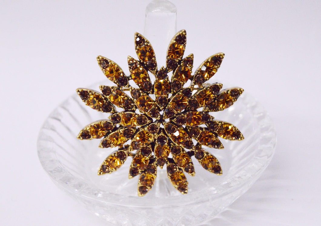 Orange And Brown Rhinestone Star Flower Brooch Pin