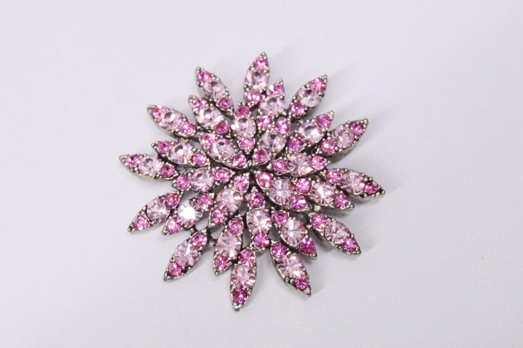 Pink Rhinestone Star Flower Brooch Pin www.hersandhistreasures.com/collections/vintage-estate-jewelry