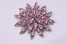 Load image into Gallery viewer, Pink Rhinestone Star Flower Brooch Pin