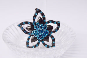 Blue Roses And Rhinestone Star Brooch Pin
