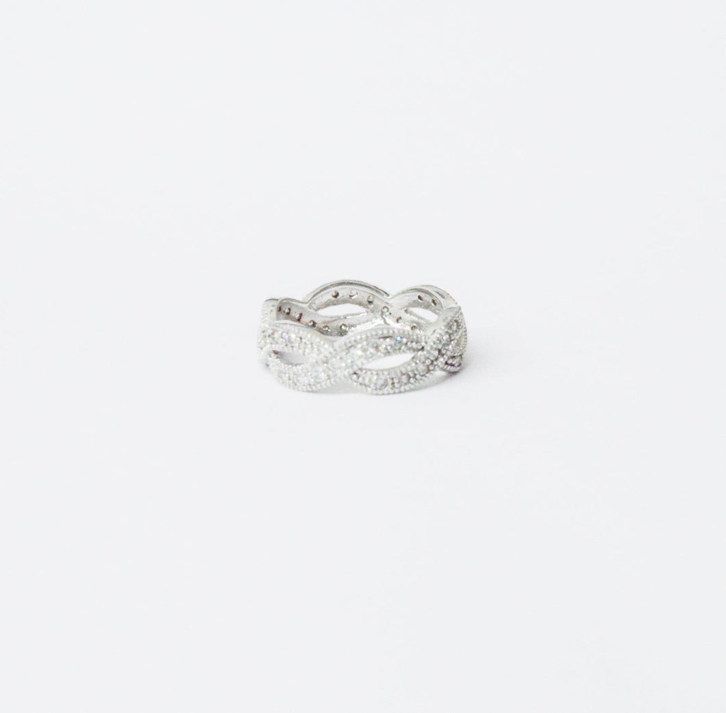 Looped .925 Sterling Silver CZ Cubic Zirconia Ring www.hersandhistreasures.com/collections/sterling-silver-jewelry