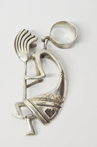 Hopi Kokopelli Double Sided .925 Sterling Silver Native American Necklace Pendant