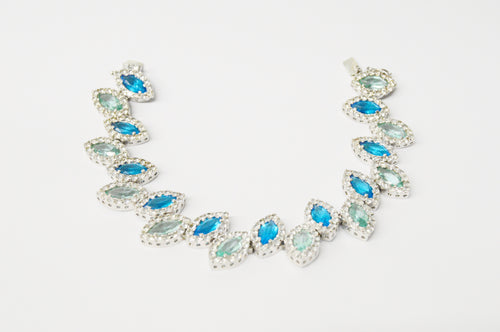 Charles Winston CWE Blue And Green CZ .925 Sterling Silver Bracelet www.hersandhistreasures.com/collections/sterling-silver jewelry