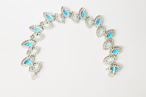 Charles Winston CWE Blue And Green CZ .925 Sterling Silver Bracelet