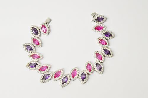 Charles Winston CWE Pink Sapphire And CZ .925 Sterling Silver Bracelet www.hersandhistreasures.com/collections/sterling-silver-jewelry