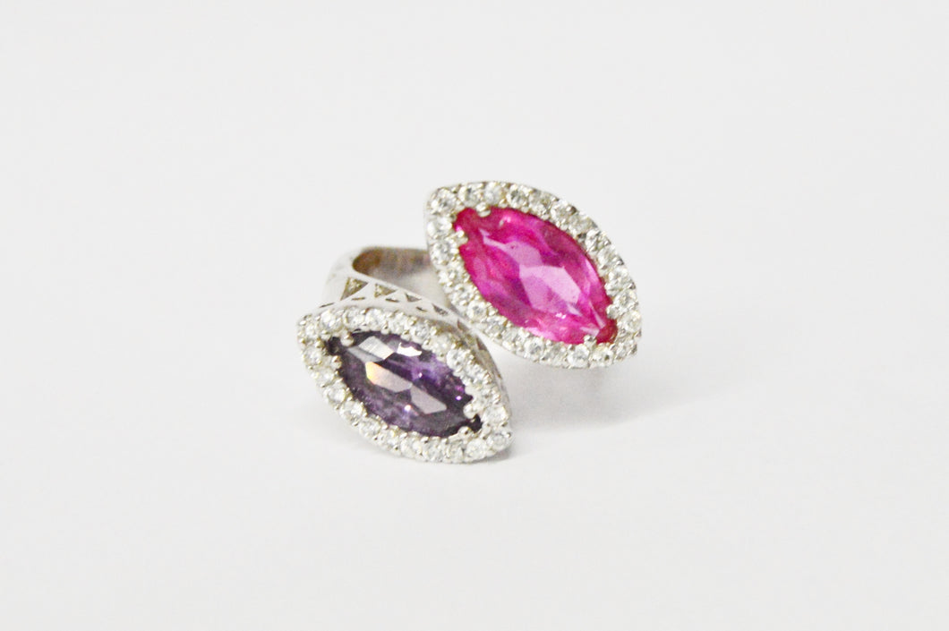 Charles Winston CWE Pink Sapphire And CZ .925 Sterling Silver Ring www.hersandhistreasures.com/collections/sterling-silver-jewelry