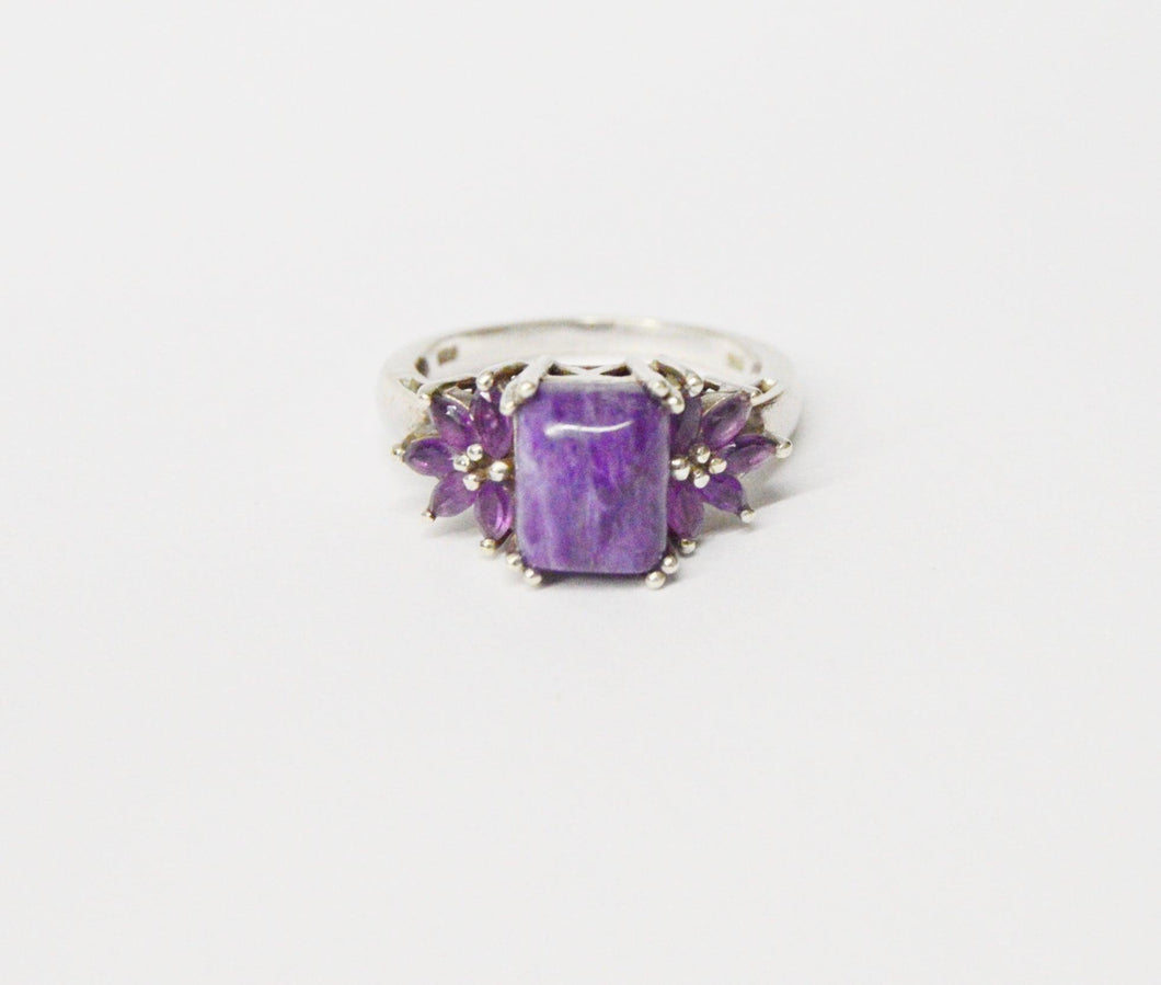 Purple Agate And Amethyst .925 Sterling Silver Ring www.hersandhistreasures.com/collections/sterling-silver-jewelry