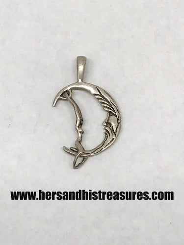 Sterling Silver Woman Riding On The Moon Pendant 1
