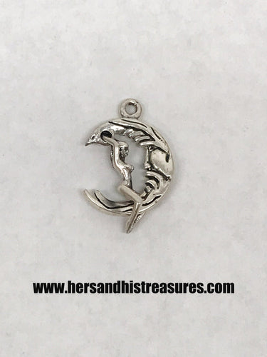 Sterling Silver Woman Riding On The Moon Pendant 1/2