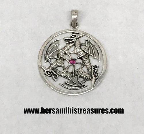 Sterling Silver Triple Dragon Circle Pendant With Ruby
