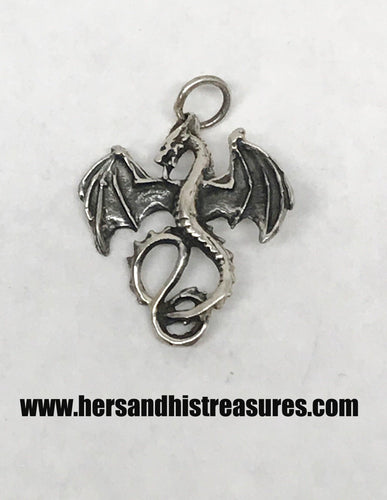 Sterling Silver Dragon Necklace Pendant 1 1/4