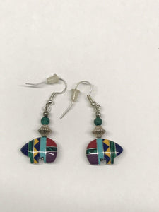 Native American Carved Inlay Bear Shaped Sterling Silver Earrings