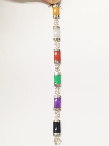 Han China Sterling Silver .925 Multi Colored Gemstone Bracelet www.hersandhistreasures.com/collections/sterling-silver-jewelry
