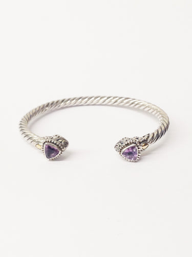 .925 Sterling Silver With 14K Yellow Gold Hearts Amethyst Bangle Bracelet www.hersandhistreasures.com/collections/sterling-silver-jewelry