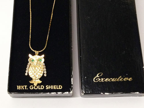 18KT Gold Shield Owl Necklace W/Rhinestones