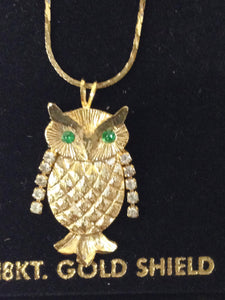 18KT Gold Shield Owl Necklace W/Rhinestones www.hersandhistreasures.com/collections/vintage-jewelry