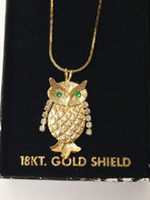 Load image into Gallery viewer, 18KT Gold Shield Owl Necklace W/Rhinestones