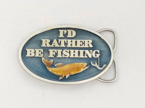 1978 I'd Rather Be Fishing Enamel Belt Buckle