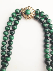 Vintage Faux Malachite Necklace