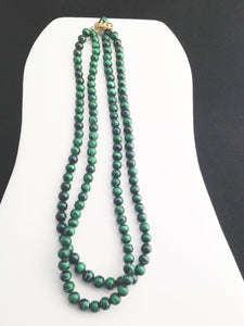 "Vintage  Double Strand Faux Malachite Beaded 20"" Necklace"