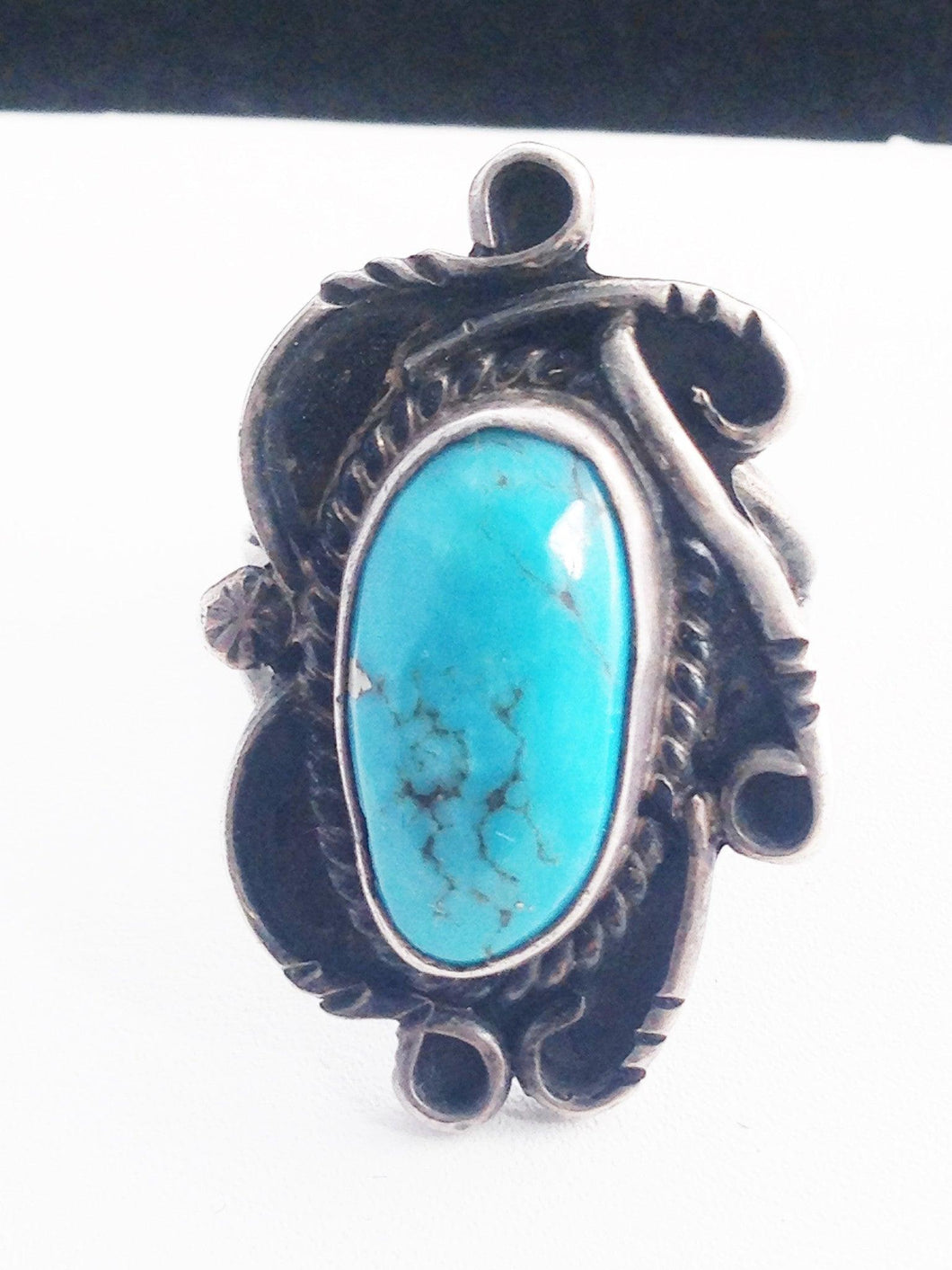 Navajo Native American Sterling Silver Turquoise Ring