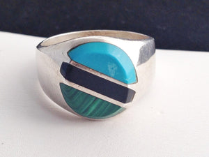 Men's Sterling Silver Turquoise, Black Onyx, Malachite Inlay Ring
