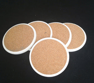 Vintage Green Ceramic Coasters W/ Cork Backing Set Of 5