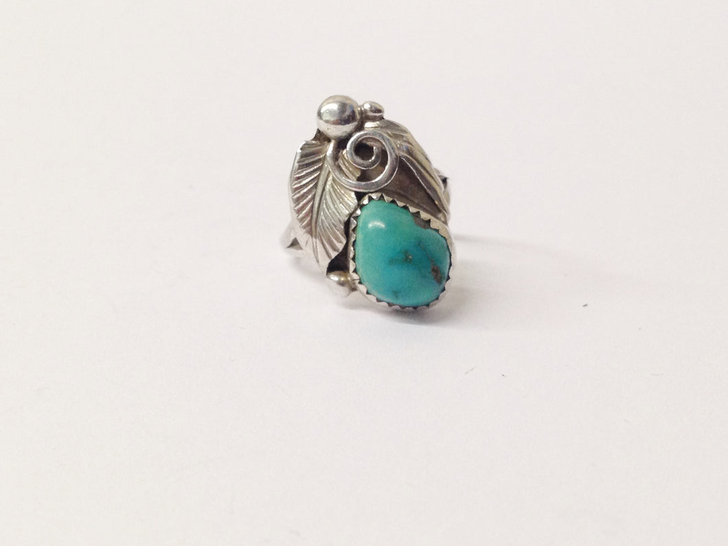 G. Nelson Native American Turquoise Sterling Silver Feather Ring www.hersandhistreasures.com/collections/sterling-silver-jewelry