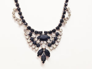 1950's Vintage Silver Tone Rhinestone Bib Necklace ~Clear & Black