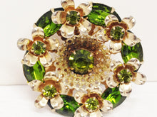 Load image into Gallery viewer, Vintage Gold Toned Green Rhinestone Brooch