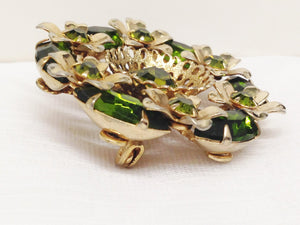 Vintage Gold Toned Green Rhinestone Brooch