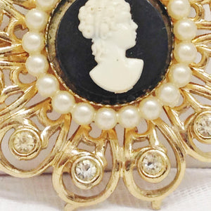 Vintage Coro Cameo Faux Pearl and Rhinestone Brooch