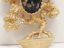 Load image into Gallery viewer, Amway Japanese Bonsai Tree W/ Speckled Cabochon Brooch