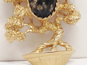 Amway Japanese Bonsai Tree W/ Speckled Cabochon Brooch
