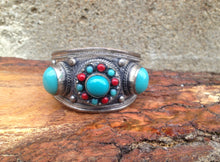 Load image into Gallery viewer, www.hersandhistreasures.com/products/Faux-Turquoise-And-Red-Coral-Cuff-Bracelet