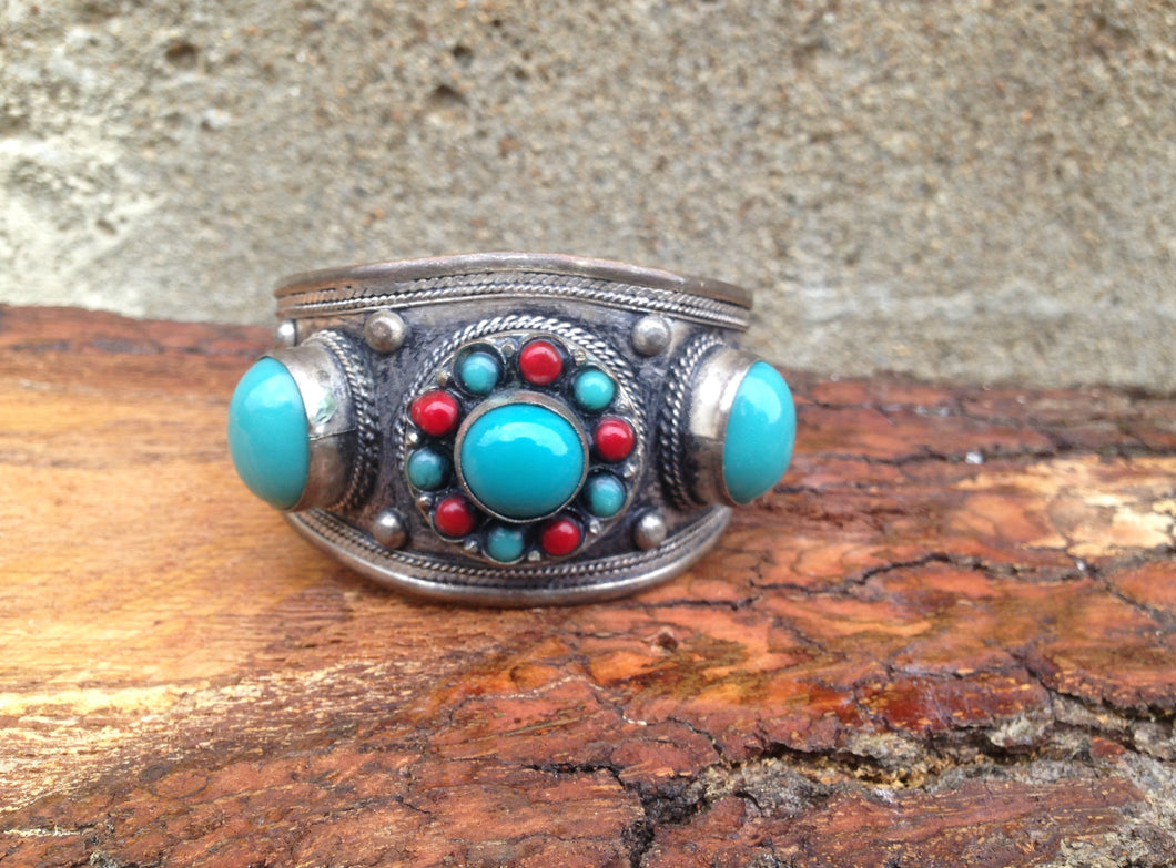 www.hersandhistreasures.com/products/Faux-Turquoise-And-Red-Coral-Cuff-Bracelet