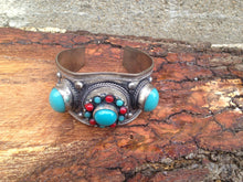 Load image into Gallery viewer, Faux Turquoise And Red Coral Cuff Bracelet