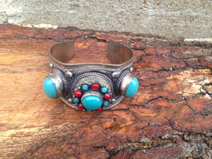 Faux Turquoise And Red Coral Cuff Bracelet